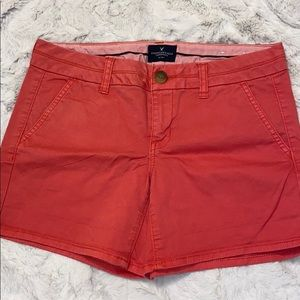 American Eagle Red Stretch Shorts Women's